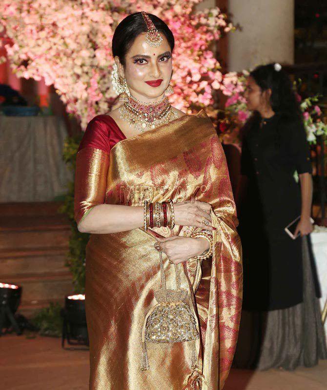 rekha in silk saree
