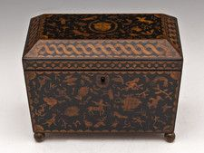 Regency Penwork Tea Caddy with Greek Mythological Characters (c. 1815 England) // This unusual penwork tea caddy stands on four original wooden ball feet and is adorned with images related to Greek mythology featuring various creatures and gods including Medusa, Echidna, Typhon, Hippkampoi and Pteracentaur. The interior has two floating lids with bone handles and traces of the original lining. // Price GBP 1550.00 (Pound Sterling) - ⎬ ❖ Maria Elena Garcia - ► www.pinterest.com/megardel/ ◀︎