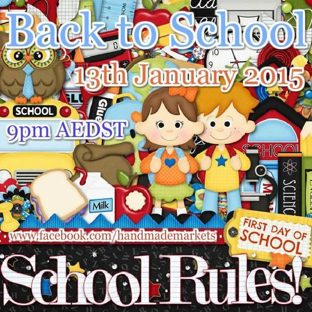 Back to School Market opens at 9pm DST - Tuesday 13th January, hosted by Handmade Markets and The Oz Material Girls