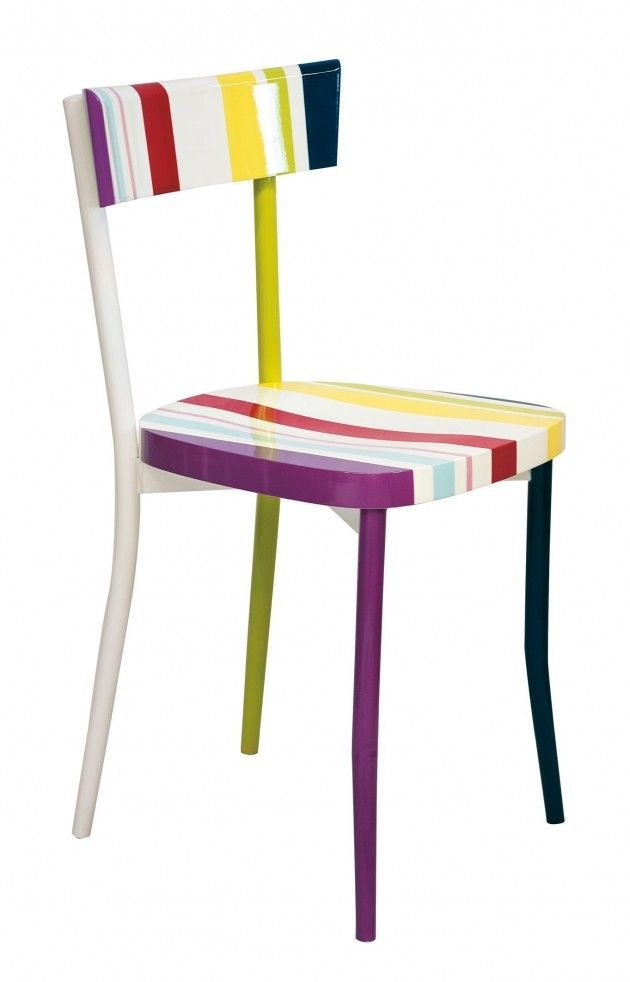 From 20 Elegant Stripe Furniture Ideas  --  this chair painting idea.  It could be challenging to paint, but I don't think I'd ever look at this chair and fail to smile.  The whole idea is just FUN!