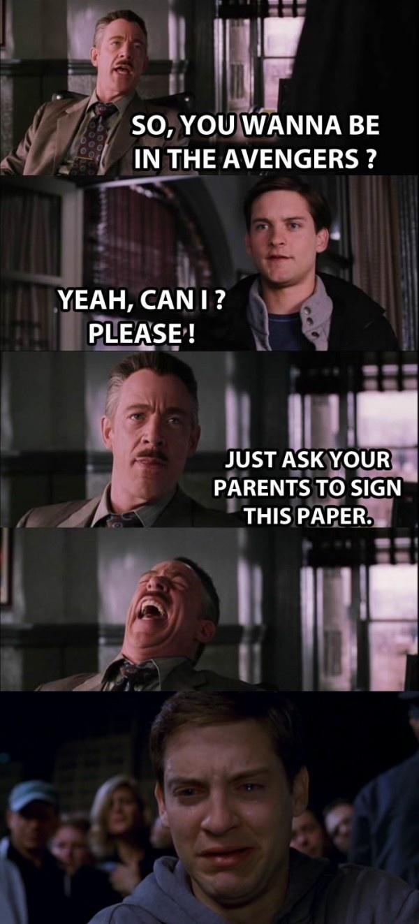 awww ( Avengers, Spiderman meme, Laughter