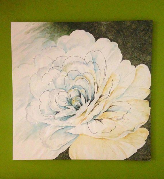 Grande fiore bianco dipinto all acquarello/ Rosa su quadro moderno floreale/ Arte e oggetto da collezione/ Pannello decorativo art handmade by PaintingsByCipeciop #italiasmartteam #etsy