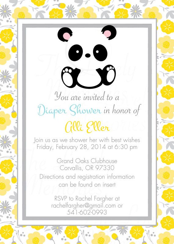 This listing includes a cute baby panda printable invitation and gift tags.  You will receive a printable jpg file so you can print at home or