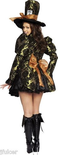 Alice in Wonderland 4 PC Tea Party Tease (Mad Hatter) Sexy Adult Costume XL
