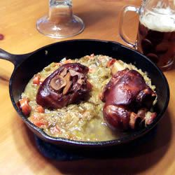 "Schweinshaxe - ""German/Bavarian style pork knuckles. Pork knuckles are also known as foreshanks, or ham shanks. Water may be used in place of beer."""