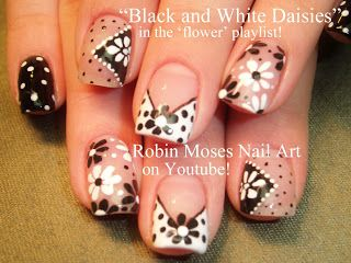 "Nail-art by Robin Moses: ""flower nail art"" ""antique flower nails"" ""nail art"" ""nails"" ""black and white nails"" ""mosesmash"" ""black and white da..."