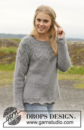 "Knitted DROPS jumper with round yoke and lace pattern in ""BabyAlpaca Silk"", ""Kid-Silk"" and ""Glitter"". Size: S - XXXL. ~ thanks so for freebie xox"