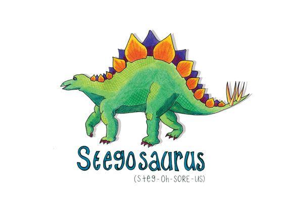 Stegosaurus Illustration dinosaur paleontology by HelloDeerDesigns