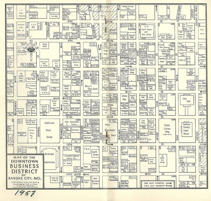 1957 Map Downtown Kc Business District Shows Locations Of Department S