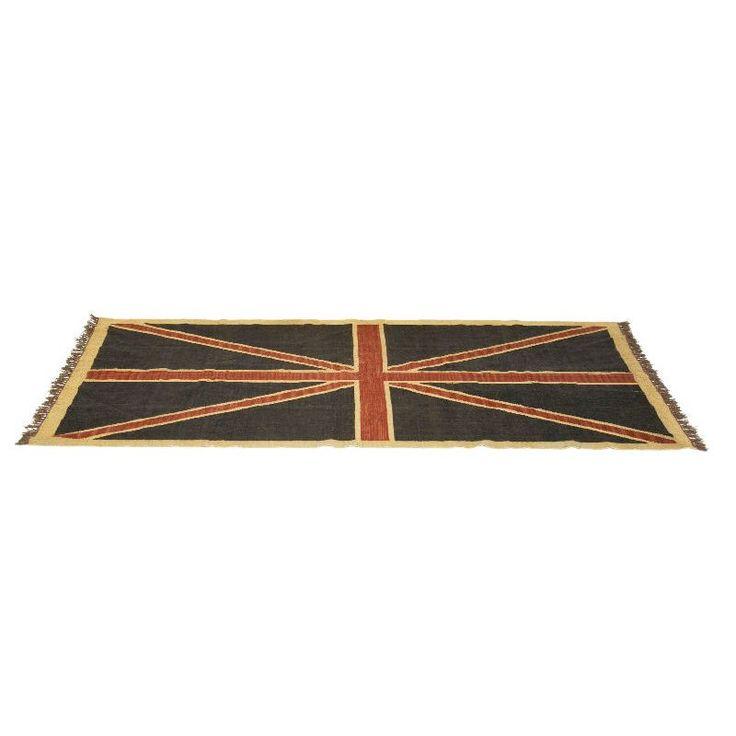 Χαλί Union Jack Vintage Ένα χαλί που προορίζεται στους λάτρεις της αγγλικής σημαίας και όχι μόνο! Φτιαγμένο από γιούτα και μαλλί, απεικονίζει την αγγλική σημαία στην πιο κομψή και vintage εκδοχή της.