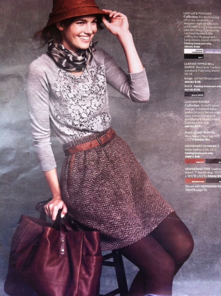 lacy sweater with belted wool skirt