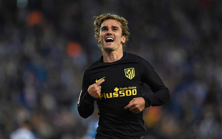 Download wallpapers Antoine Griezmann, 4k, football stars, Atletico Madrid, joy, La Liga, soccer, footballers