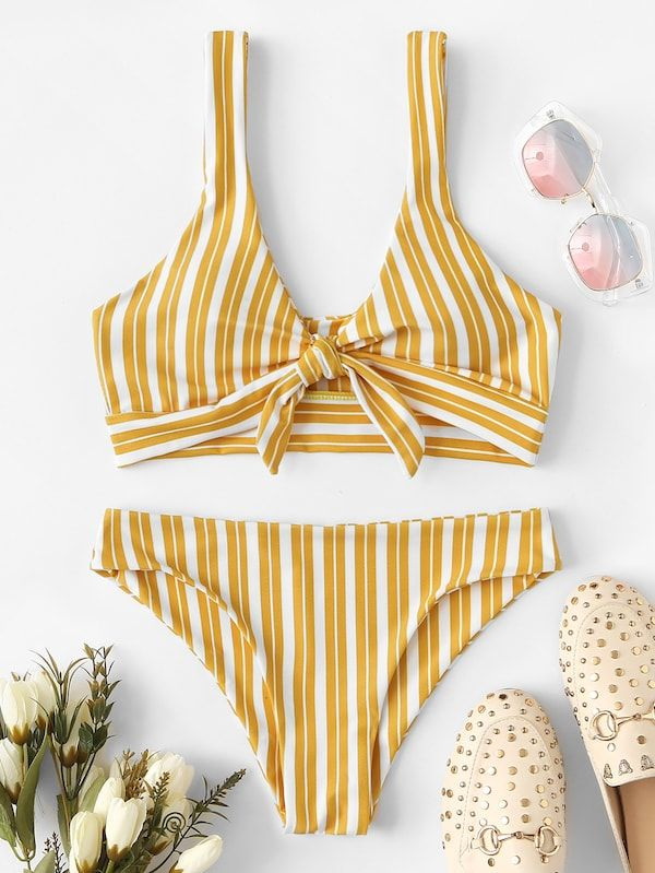 9cde87a3e0 Affordable womens swimwear and bikinis online store for every occasion.  Random Striped Knot Front Bikini Set -SHEIN(SHEINSIDE)