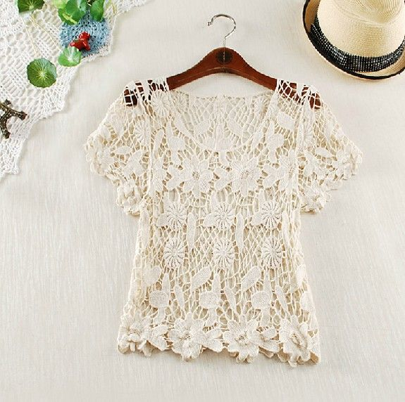 Crochet Hooks Ireland : ... Hook Flower Lace Crochet Vest Knit Top Gilet Waistcoat IRISH LACE