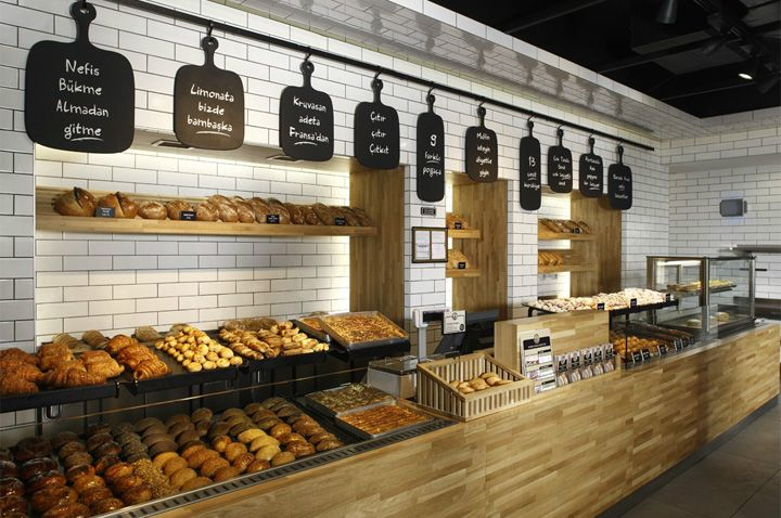 Awesome bakery design - Handmade tiles can be colour coordinated and customized re. shape, texture, pattern, etc. by ceramic design studios