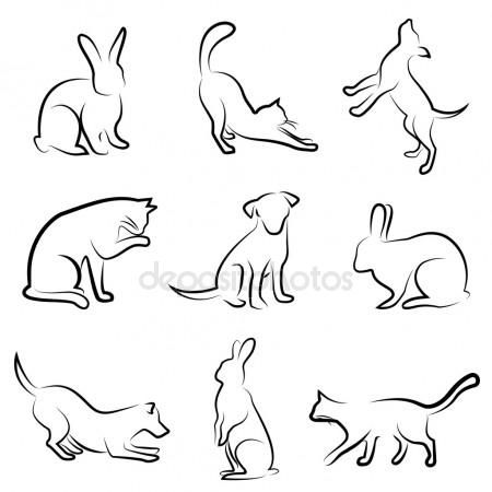 cats drawn | Dog, cat, rabbit drawing animal – Stock Vector … – katzen