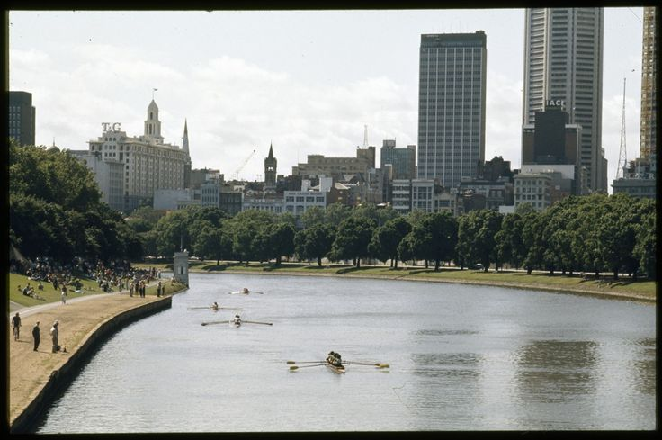 Yarra River and Melbourne skyline mid 1980s.
