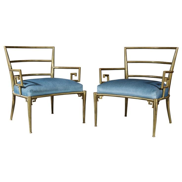 Mastercraft Greek Key Lounge Chairs at 1stdibs