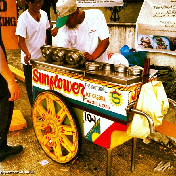 """This is such a fancy ice cream cart…as a child growing up in the Philippines(Quezon  City) we used to wait for this ice cream cart but my favorite was the """"mungo popsicle""""!"""