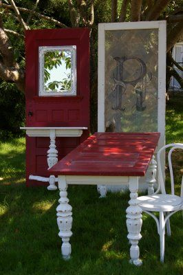 old doors repurposed into new furnishings - dining table- I was JUST thinking how cool it would be to re-purpose an old door into a table! awesome! tm