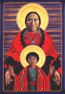 Navajo Virgin and Child by Father John Giuliani  How is this image of the Virgin Mary and Jesus different from how you see them?