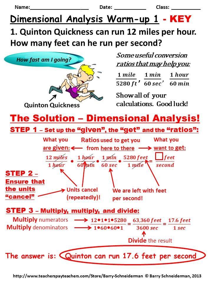More dimensional analysis worksheet
