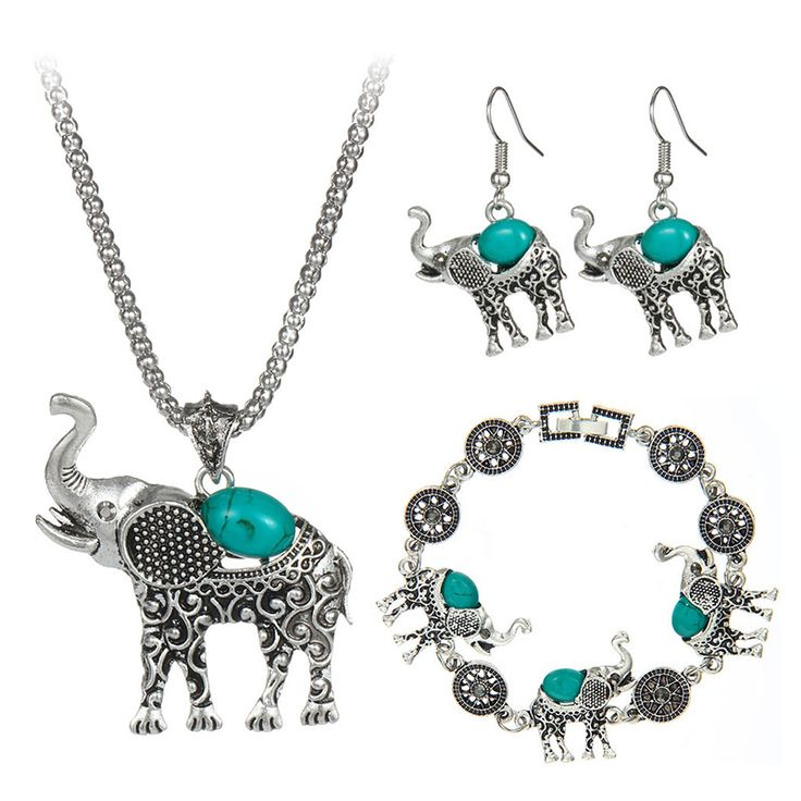 Bohemian Style Fashion Green/Red/Black Turquoise Jewelry Vintage Cute Elephant  Necklace  For Women Girl Hot Sale 2016
