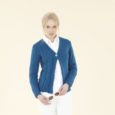 The Sublime Twist & Fold cardie - from the Sublime Natural Aran hand knit book with 18 designs for women & girls