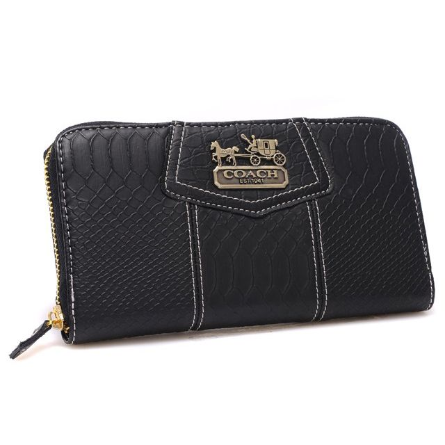 #BestSeller #FashionTime Coach Accordion Zip In Croc Embossed Large Black Wallets CCQ Can Be Proof For You To Prove Your Love For Fashion!