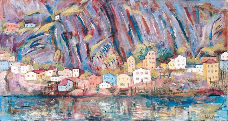 The Lower Battery, St Johns Newfoundland, Ilse Hughes, Oil on canvas on loan from the Waterford Municipal Art Collection. Selected by the Waterford Young Arts Critics.