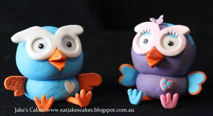 Hoot and Hootabelle Cake toppers Cake by Jakescakes