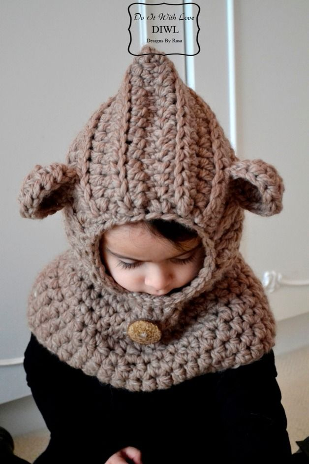 "Free+Crochet+Hooded+Cowl+Patterns | Crochet PATTERN - Bear Hooded Cowl ""Luxury"""