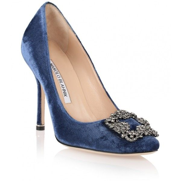 Manolo Blahnik Hangisi 105 blue velvet pump ($995) ❤ liked on Polyvore featuring shoes, pumps, blue, high heel shoes, blue evening shoes, blue high heel shoes, blue pumps and special occasion shoes