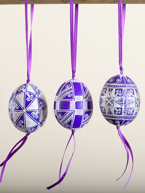 Purple Pysanka Chicken Egg Ornament with ribbon | IFAM | Online