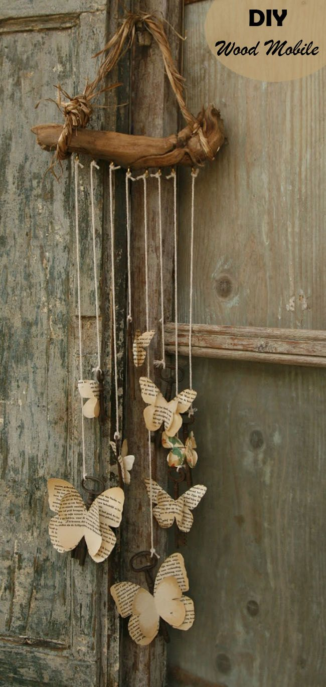 DIY vintage wood mobile for weddings