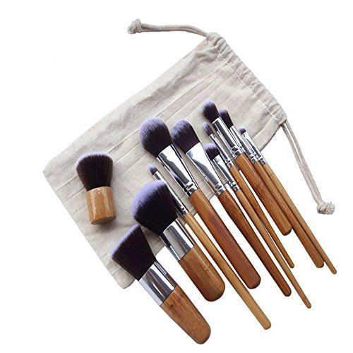 Gobuy Classic 11 Pieces Bamboo Handle Makeup Synthetic Foundation Brushes Kit with Bag *** Check this awesome image  : Makeup 101