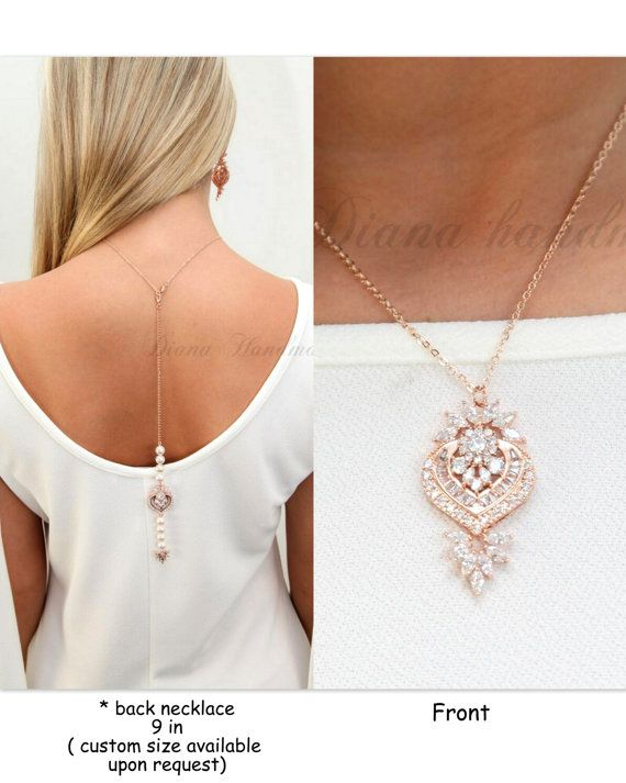 ROSE GOLD-Bridal Back Necklace,Wedding Back Necklace,Back Jewelry,Bridal back Necklace,Wedding back Accessories, Bohemian Wedding -LILY