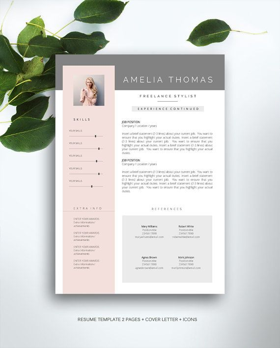 Resume Template 3 page / CV Template Cover von FortunelleResumes