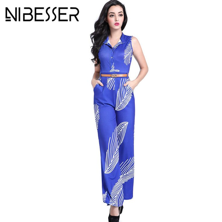 NIBESSER Jumpsuits Rompers Women Fashion Purple Bodycon Rompers Womens Printed Sleeveless Jumpsuit With Belt Overalls Z30 #Affiliate