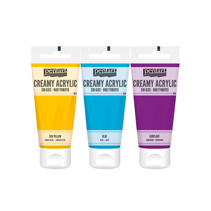 Creamy Acrylic paint - semi-gloss // A new member has joined to our acrylic paint family. This new, creamy, water based, thick paint is provided in tube. Currently it is available in semi-gloss and metallic colors and it can be displayed very attractively due to its practical packaging. We highly recommend it to create thicker textures and use in stencil. It gets dried easily and quickly even if we apply in a thick layer.