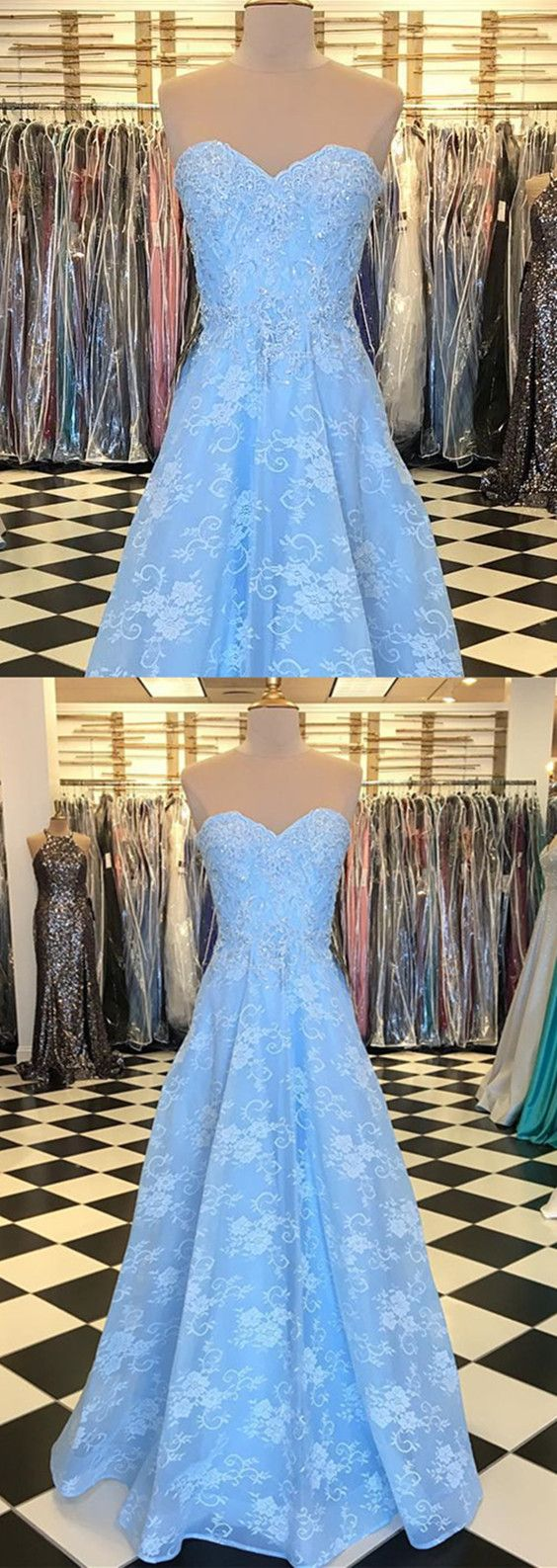 Elegant Baby Blue Sweetheart Long Lace Prom Dresses 2018 Formal Gowns