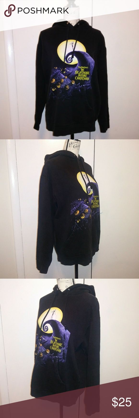 The Nightmare Before Christmas Sweatshirt Hoodie Tim Burton's The Nightmare Before Christmas Hoodie - Size: Medium; fits a Large or XL for women - Front Pockets  Measurements shown in the pictures The Nightmare Before Christmas Shirts Sweatshirts & Hoodies