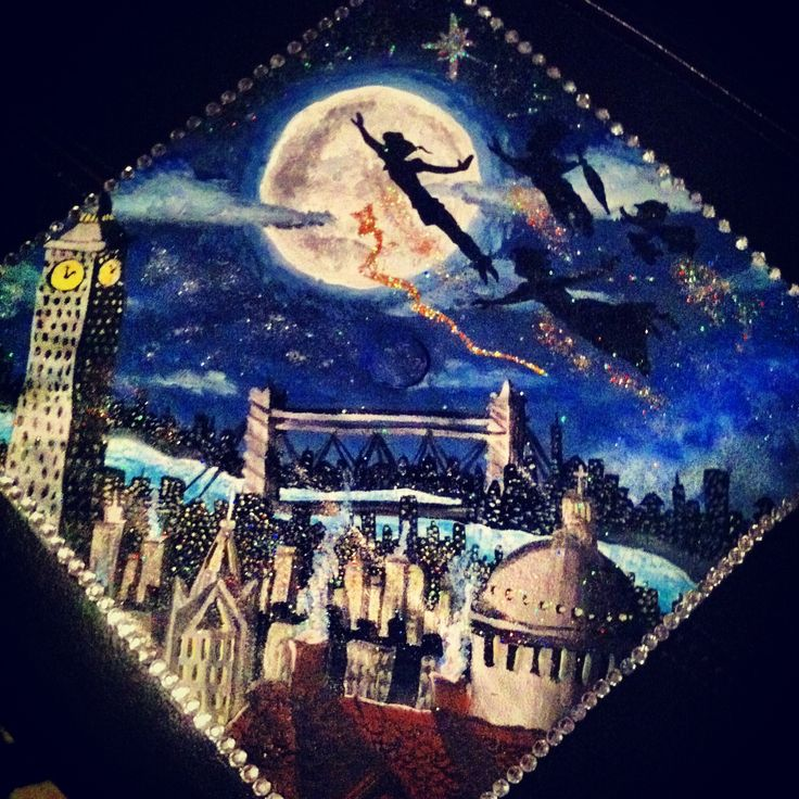 (Graduation Caps by Dori, Peter Pan cap for myself)  If anyone is interested in having me paint your cap, feel free to contact me by commenting below:)