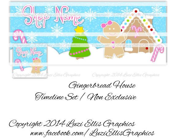 Gingerbread House Facebook Timeline  Banner & by LuziEllisGraphics