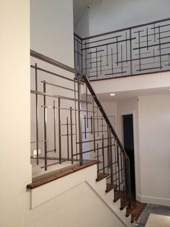 Black metal stair railing linear geometric art modern contemporary industrial