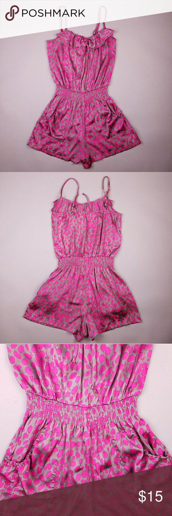 """Small pink and silver satin semi sheer romper Womens shorts romper in hot pink and silver semi sheer polyester with a shiny satin finish. ?Excellent condition, never worn.?   -Adjustable spaghetti straps?  -Ruffle neckline?  -Stretch waist?  -Stretch back of neckline?  -Hip pockets?   Brand: BETTER B  Size: Small?  Length (shoulder to crotch): 33""""-36"""" max strap extension  Bust: 36""""?  Waist: 22""""- 36""""?  Hips: 44""""?  Inseam: 2.5""""? better b  Other"""