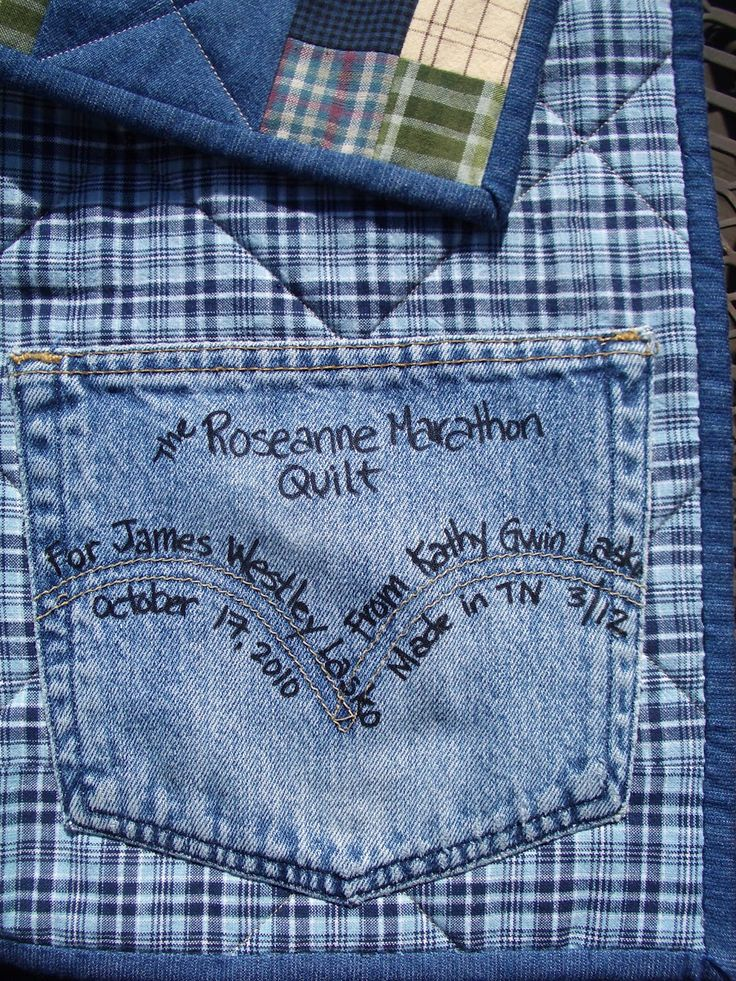 Darling way to label a quilt.....I've heard some put a few scraps from the quilt inside the label for future repair too.: Jeans Quilts, Future Repair, Quilts I V Heard, Handicrafti Sisters, Labels Ideas, Quilts Labels, Denim Quilts, Quilts Inside, Jeans Pockets