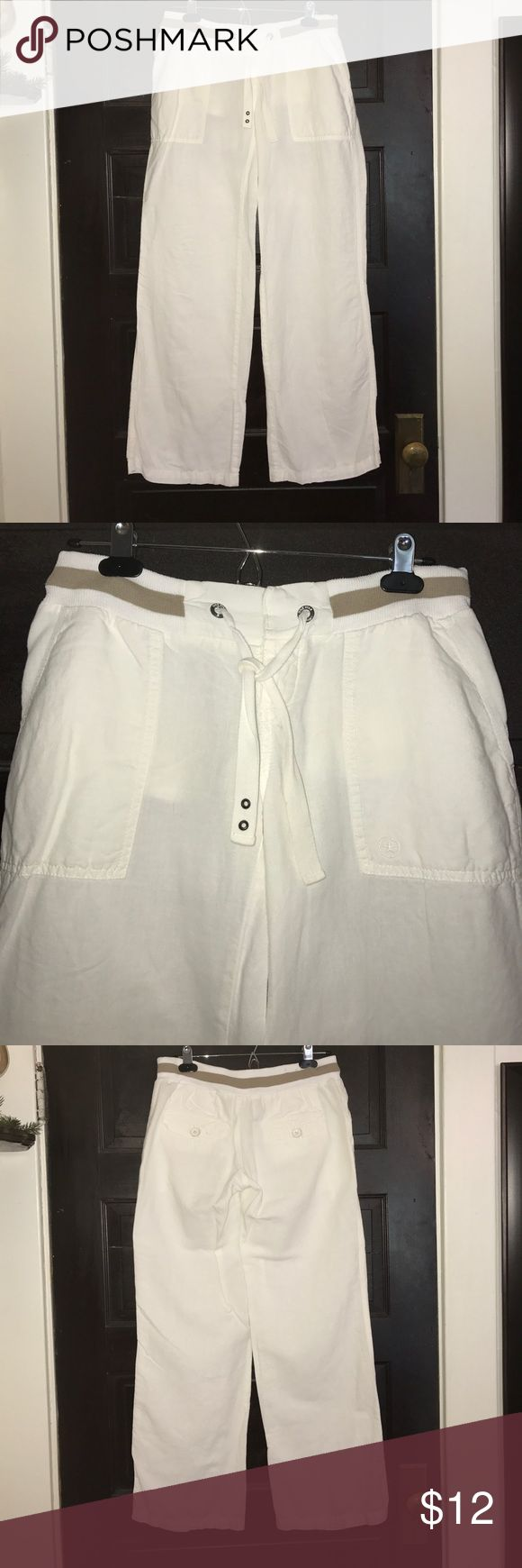 """SALE❤️ Converse white Linen cotton pants XS Converse white Linen cotton blend pants size XS, worn a few times but still in good condition. Inseam measures 30"""", Waist is 15"""" but also elastic. Converse Pants"""