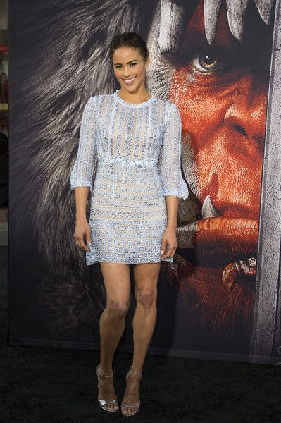Paula Patton Beaded Dress - Paula Patton looked enchanting in a beaded baby-blue mini dress by Martha Medeiros at the premiere of 'Warcraft.'