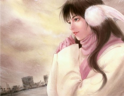 Woman with black hair wearing pink turtleneck sweater & white angel wing earmuffs by manga artist Akemi Takada.